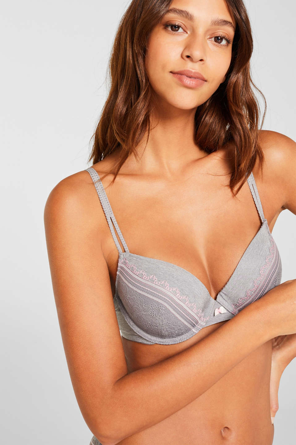 Padded underwire bra with embellished lace, LIGHT GREY, detail image number 2