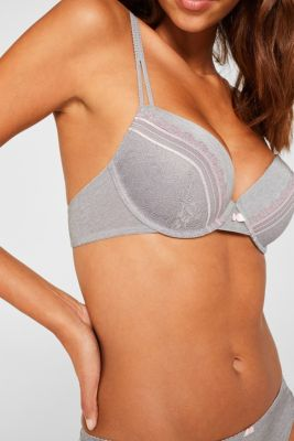 Padded underwire bra with embellished lace, LIGHT GREY, detail
