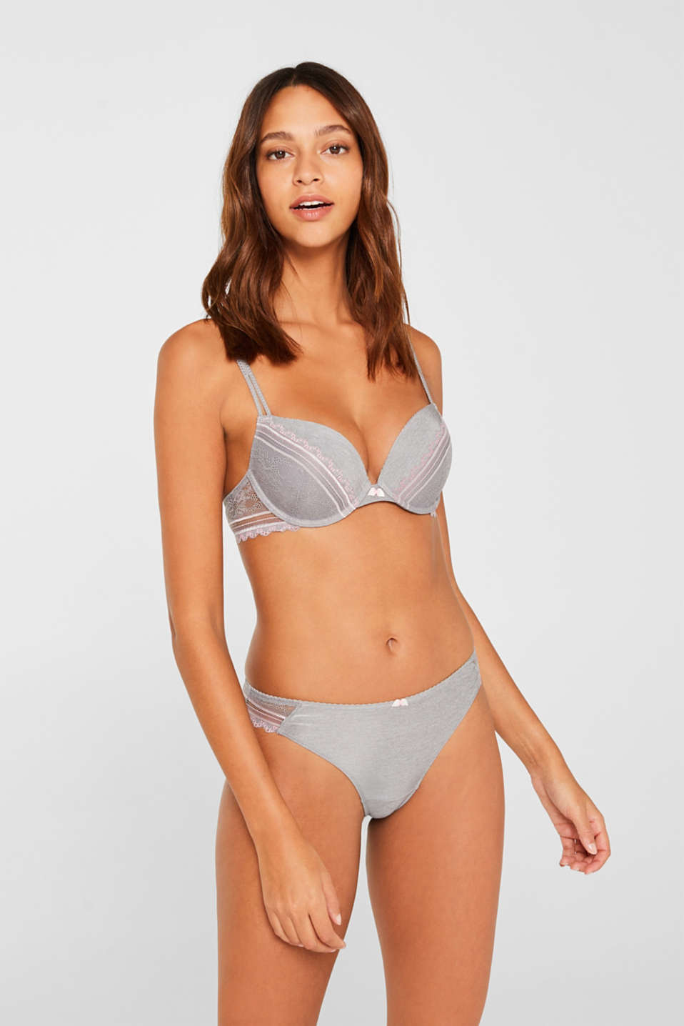 Hipster thong with embellished lace, LIGHT GREY, detail image number 0