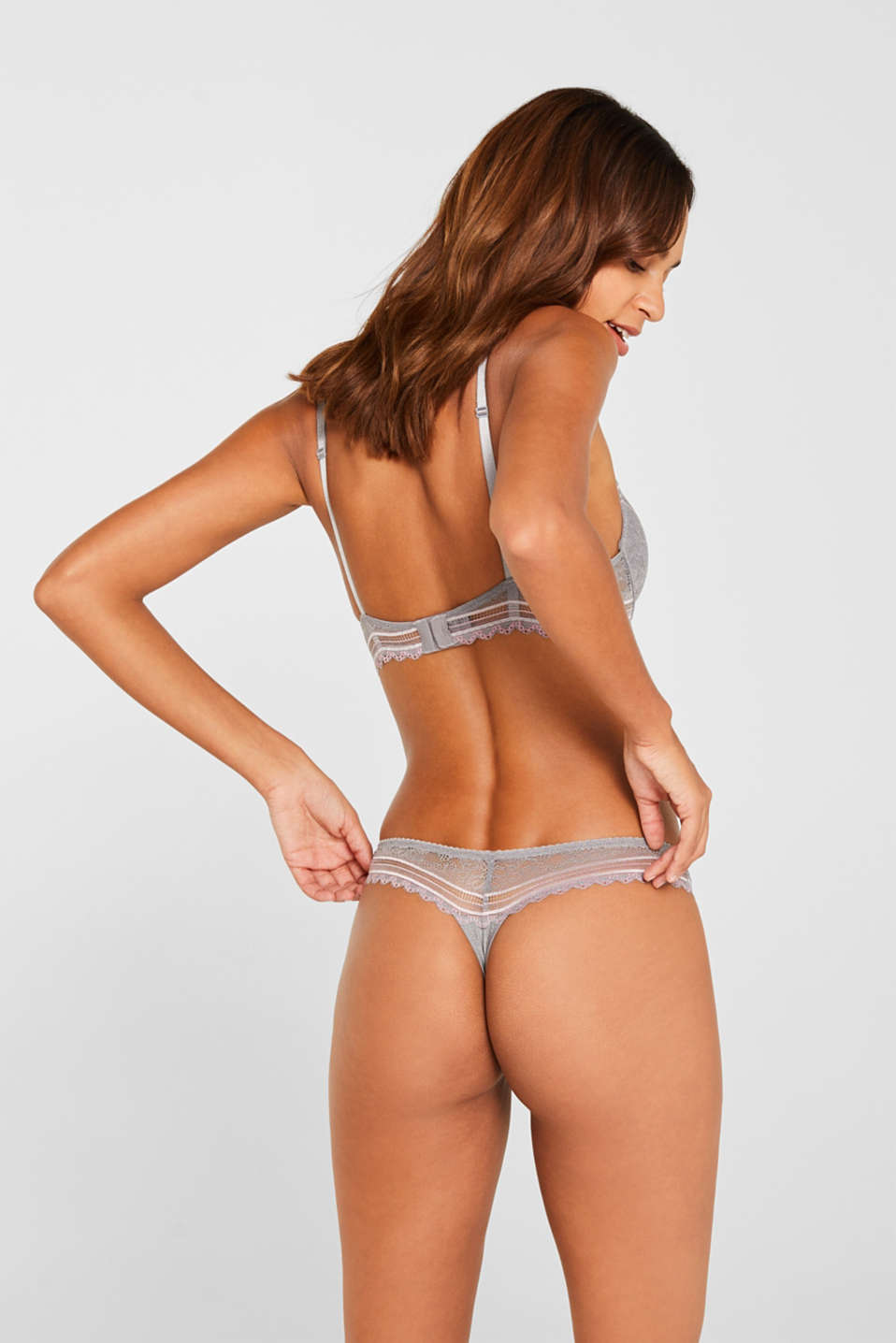 Hipster thong with embellished lace, LIGHT GREY, detail image number 2