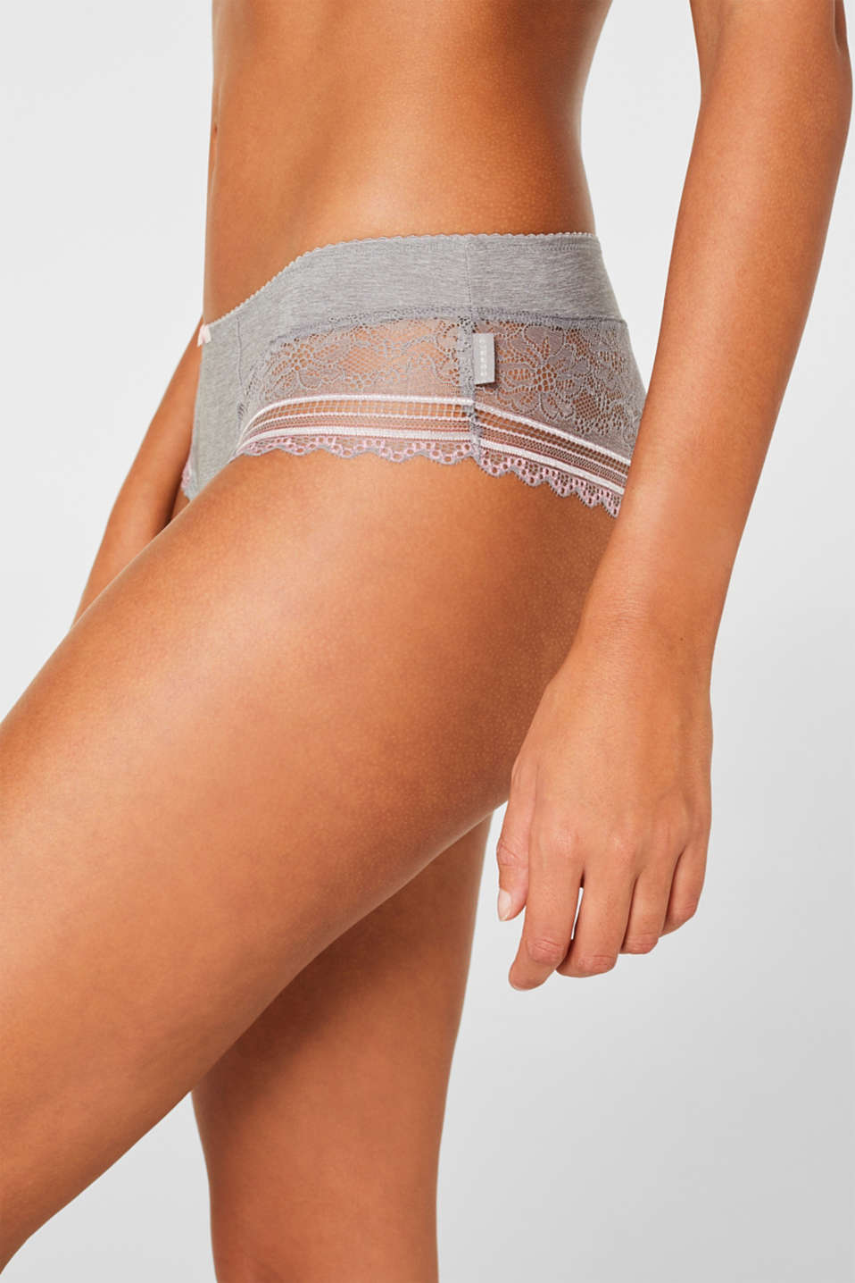 Hipster shorts with embellished lace, LIGHT GREY, detail image number 1