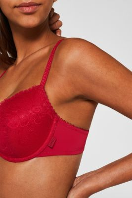 Padded underwire bra in lace, CHERRY RED, detail