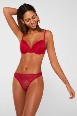 Lace hipster thong, CHERRY RED, detail