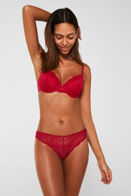 Brazilian hipster lace briefs, CHERRY RED, detail