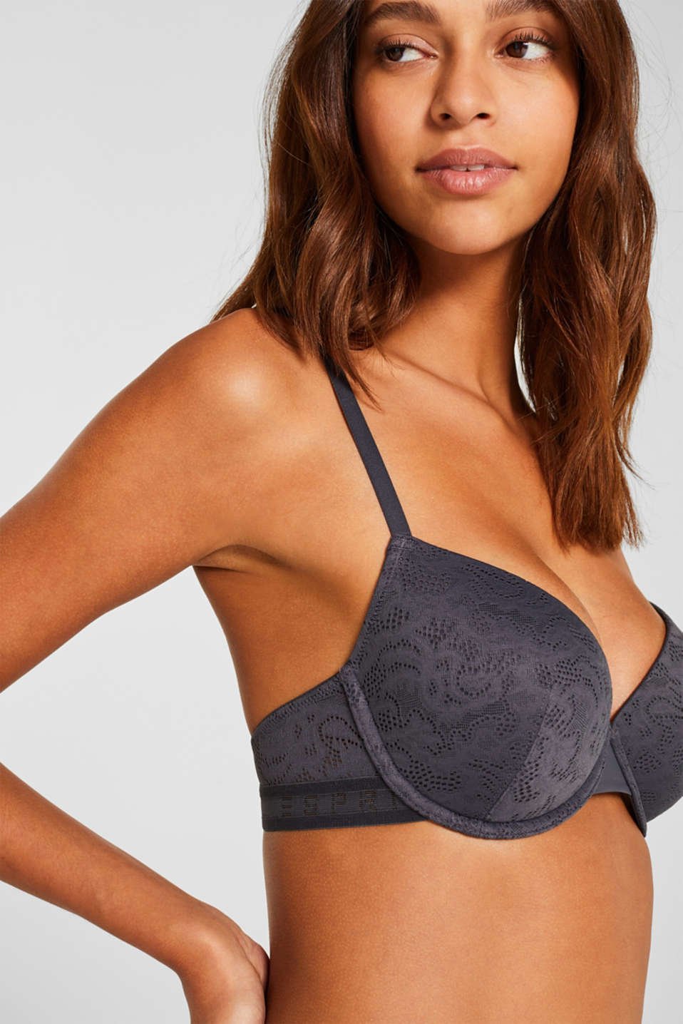 Padded underwire bra with an openwork pattern, ANTHRACITE, detail image number 2