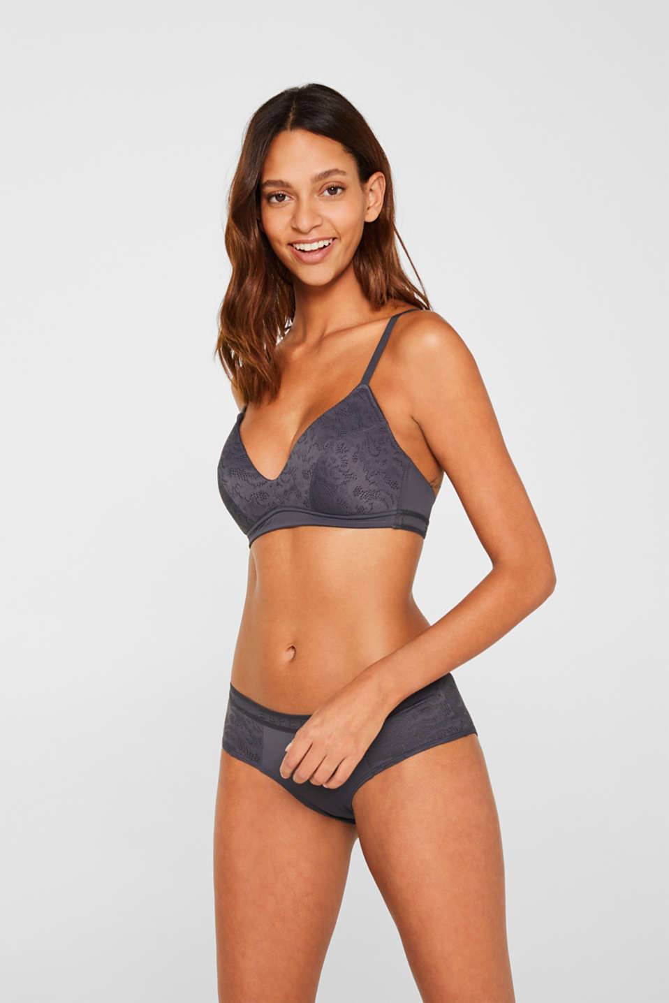 Padded non-wired bra with an openwork pattern, ANTHRACITE, detail image number 0
