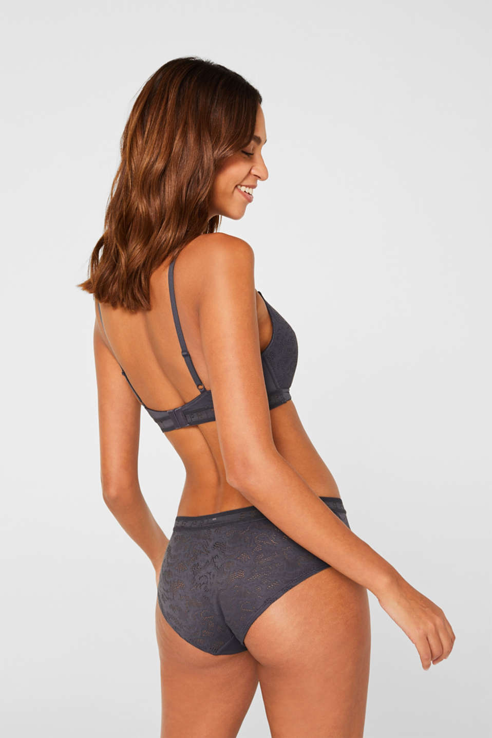 Padded non-wired bra with an openwork pattern, ANTHRACITE, detail image number 1