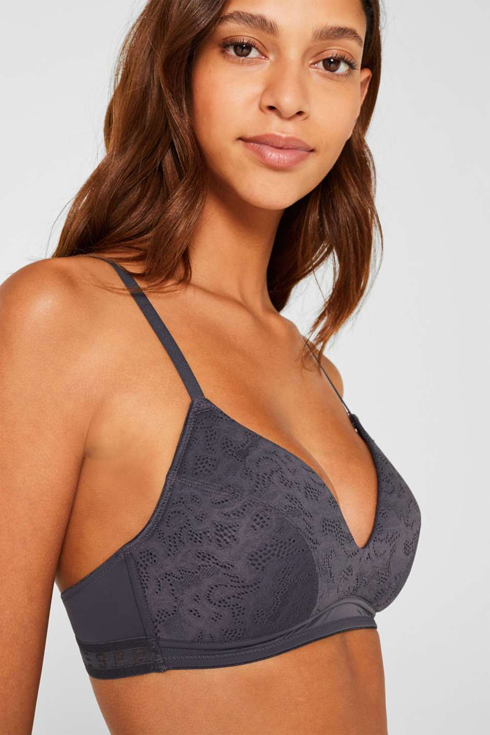 Padded non-wired bra with an openwork pattern, ANTHRACITE, detail image number 2