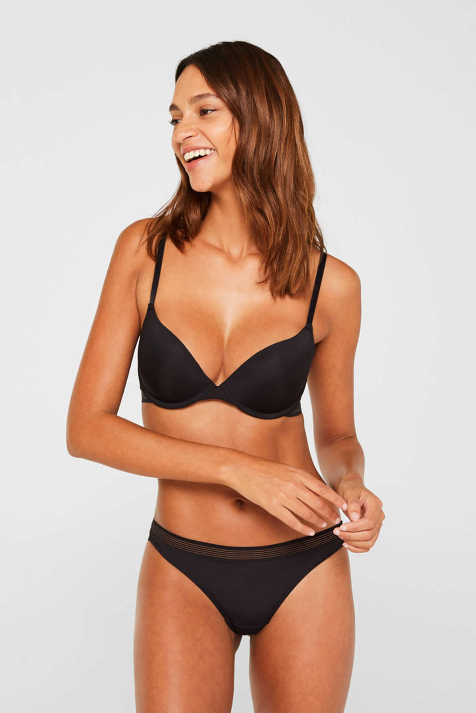 Push-up bra with sheer stripes, BLACK, detail image number 0