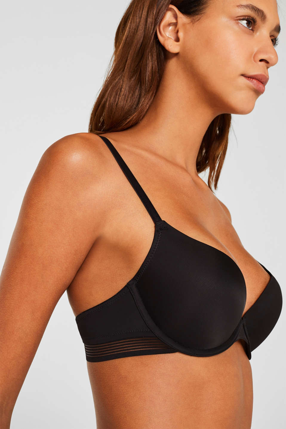 Push-up bra with sheer stripes, BLACK, detail image number 2