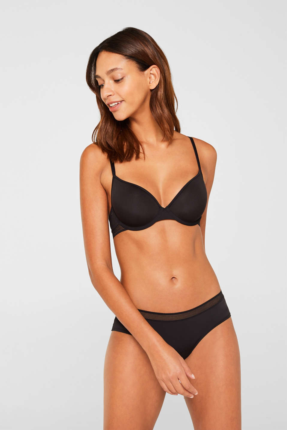 Padded underwire bra with sheer stripes, BLACK, detail image number 0