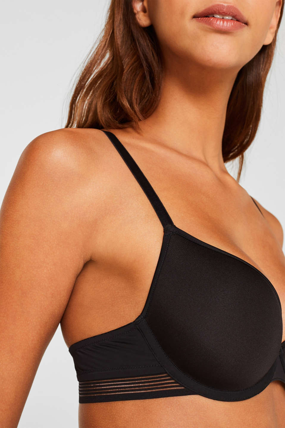 Padded underwire bra with sheer stripes, BLACK, detail image number 2