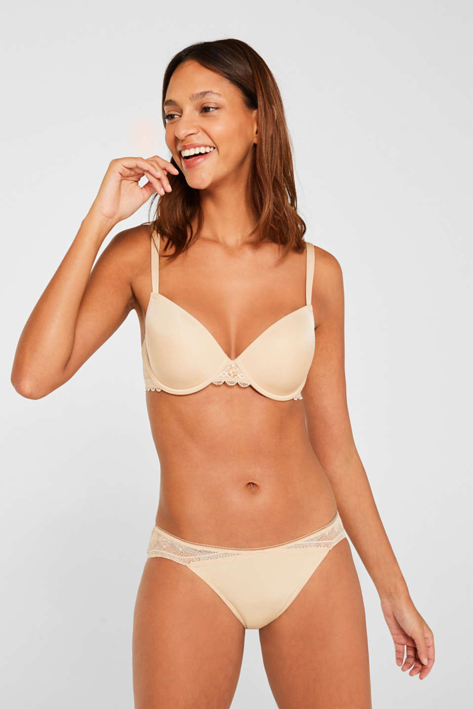 Padded underwire bra with lace, DUSTY NUDE 5, detail image number 0