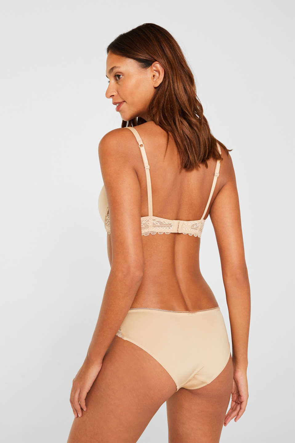 Padded underwire bra with lace, DUSTY NUDE 5, detail image number 1