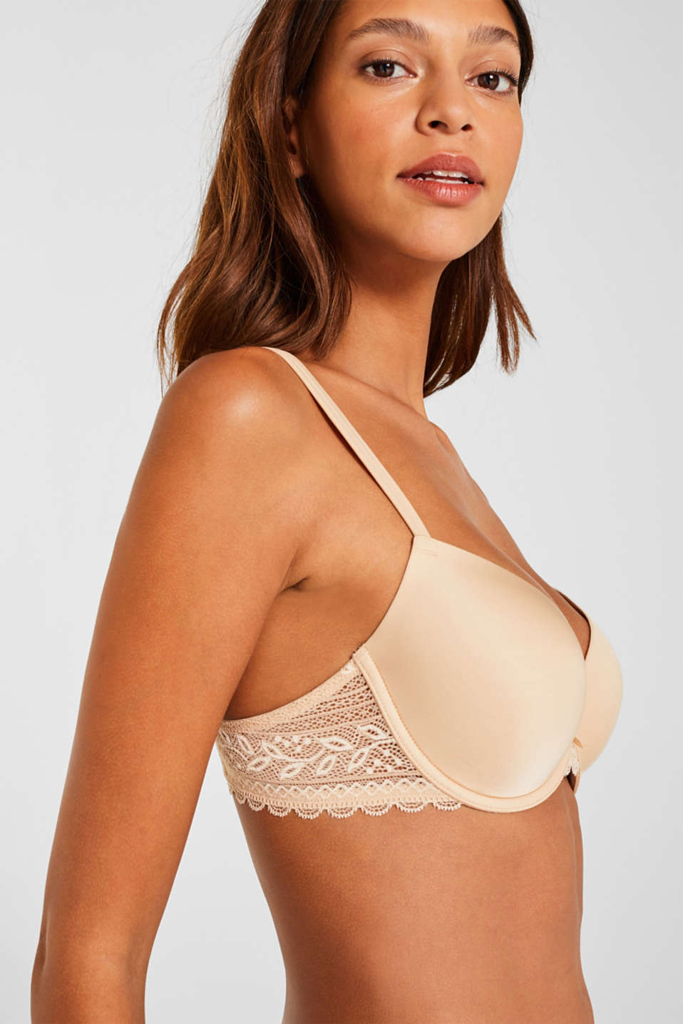 Padded underwire bra with lace, DUSTY NUDE 5, detail image number 2
