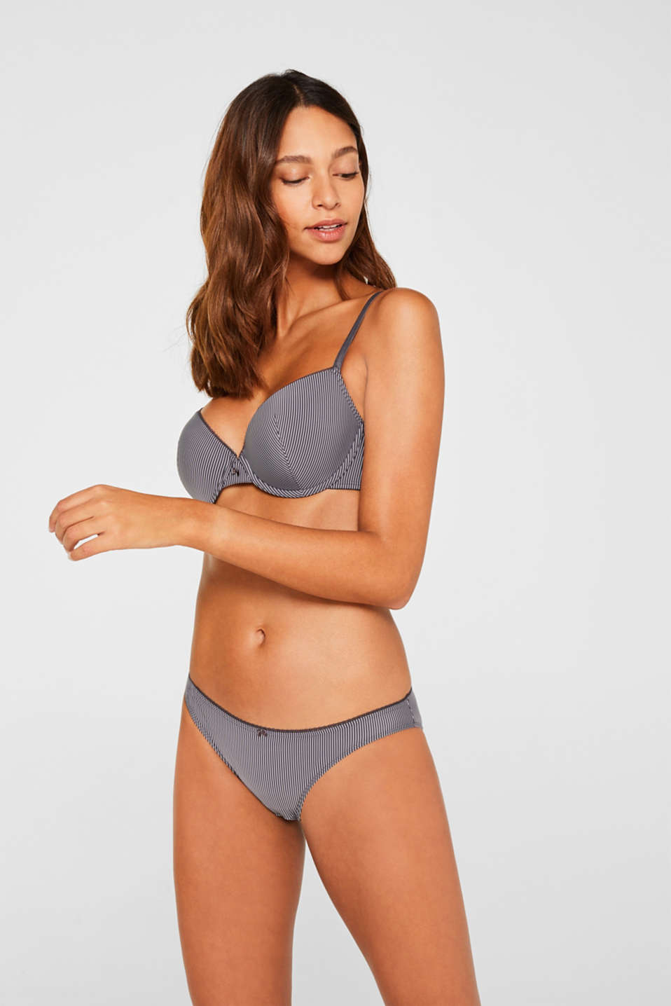 Padded underwire bra with stripes, ANTHRACITE, detail image number 0