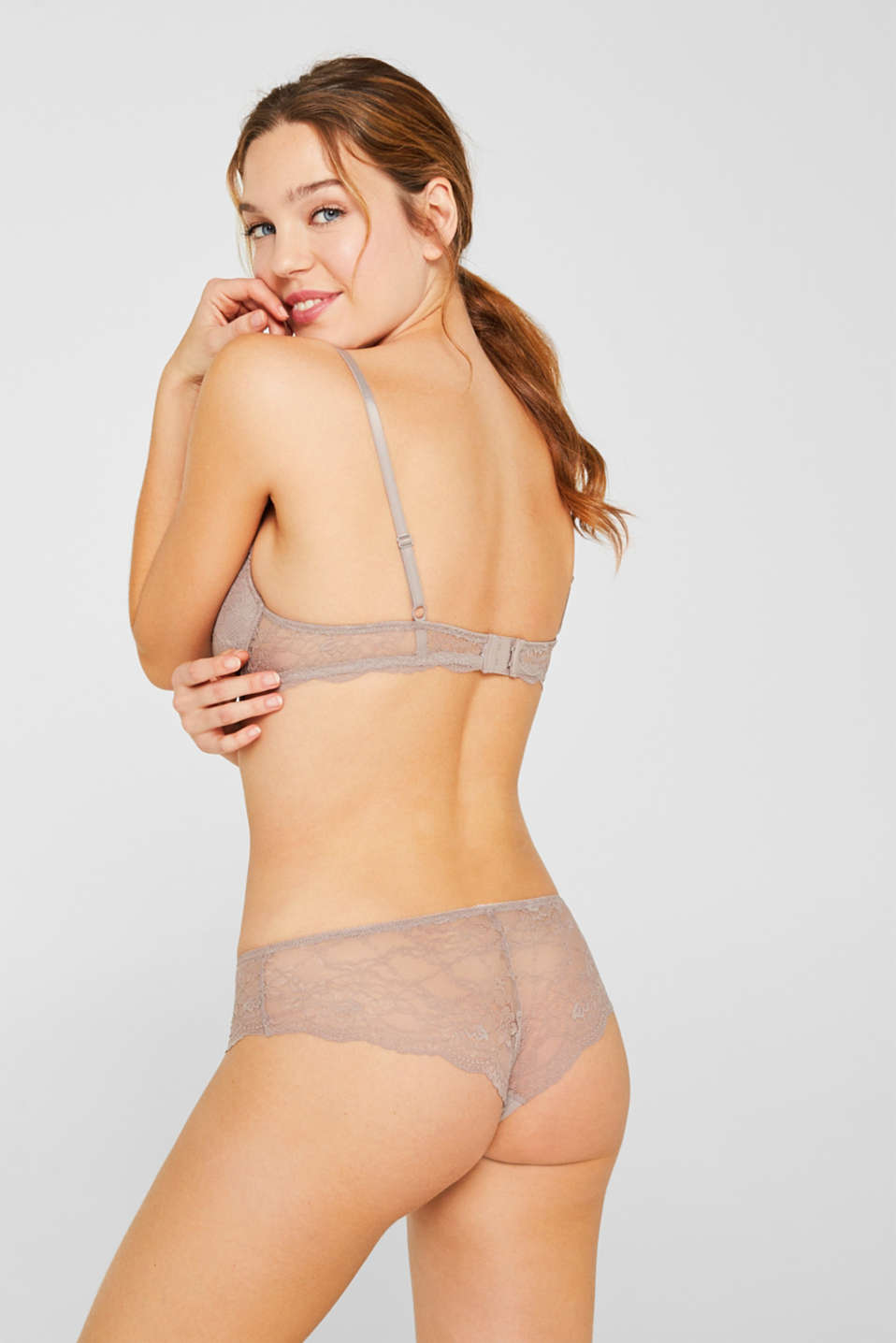Push-up lace bra, TAUPE, detail image number 1