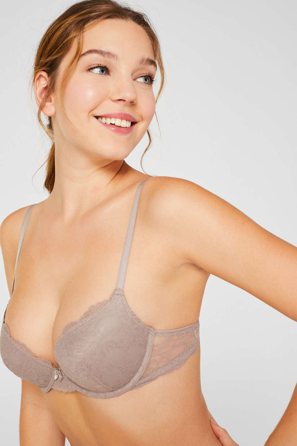 Push-up lace bra, TAUPE, detail image number 3