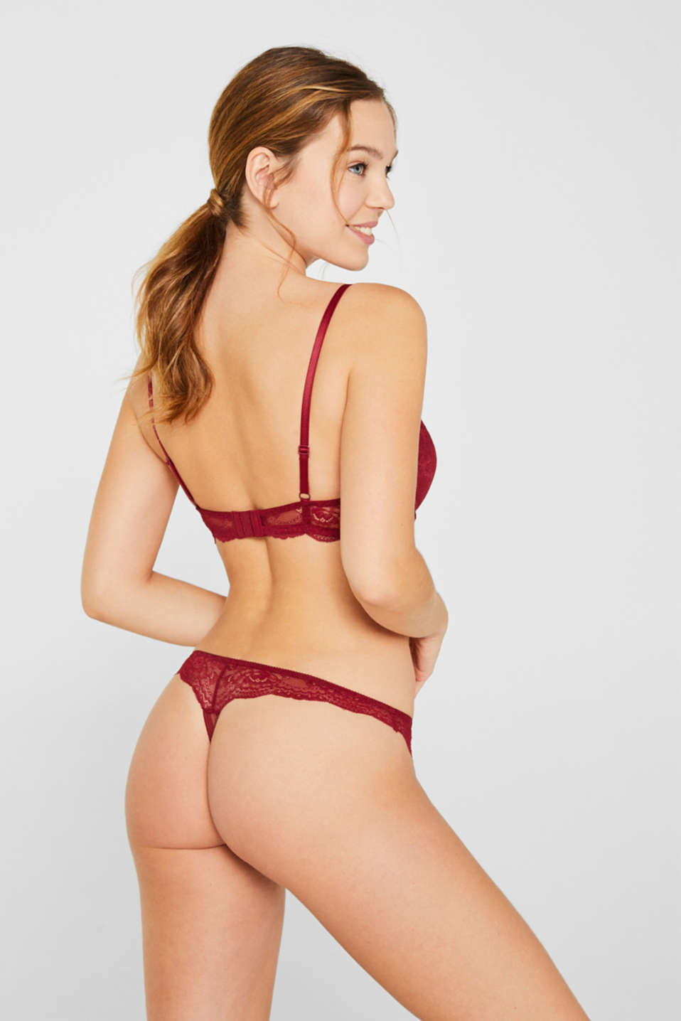 Push-up lace bra, BORDEAUX RED, detail image number 1