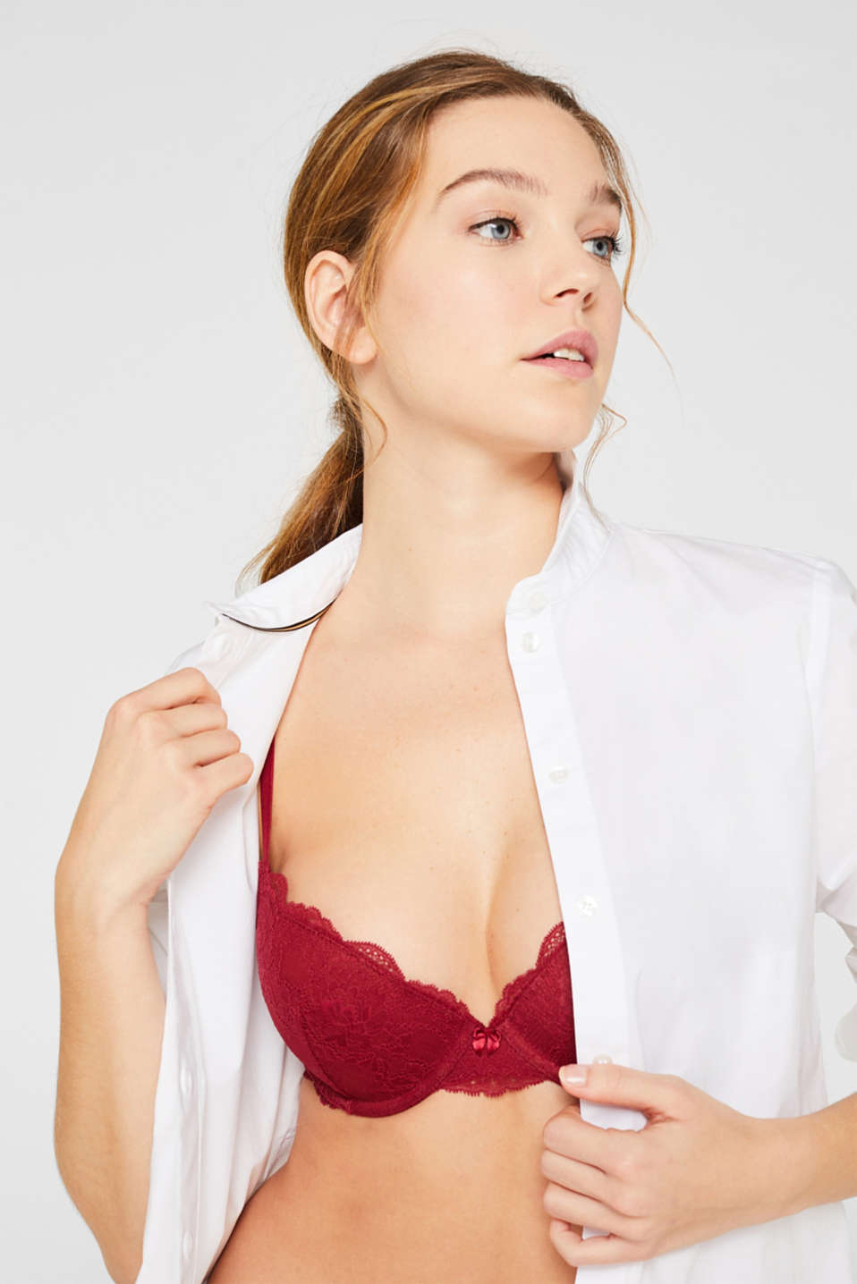 Push-up lace bra, BORDEAUX RED, detail image number 2