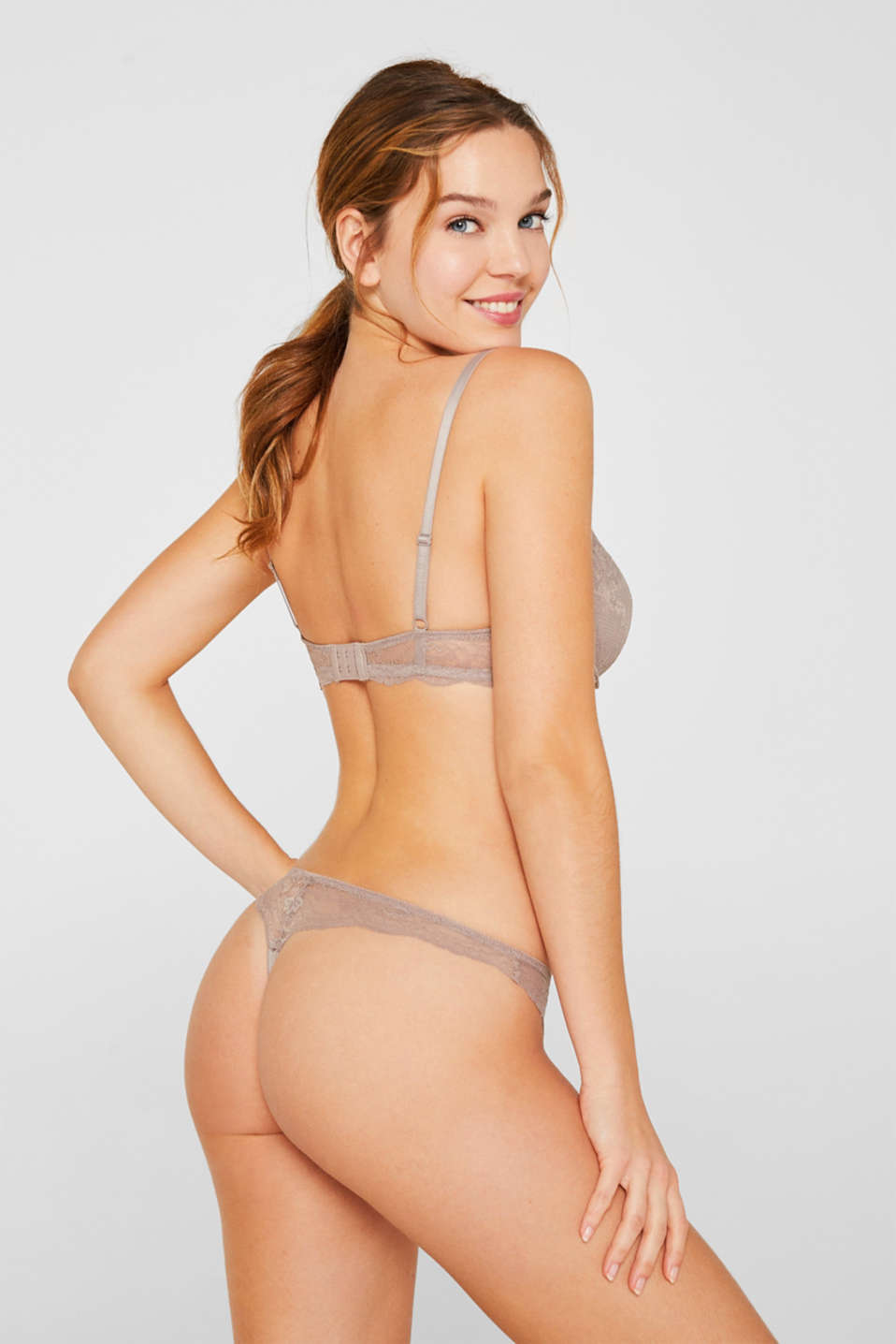 Delicate lace hipster thong, TAUPE, detail image number 2
