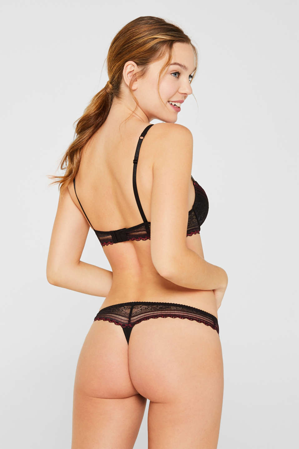 Hipster thong with two-tone lace, BLACK, detail image number 2