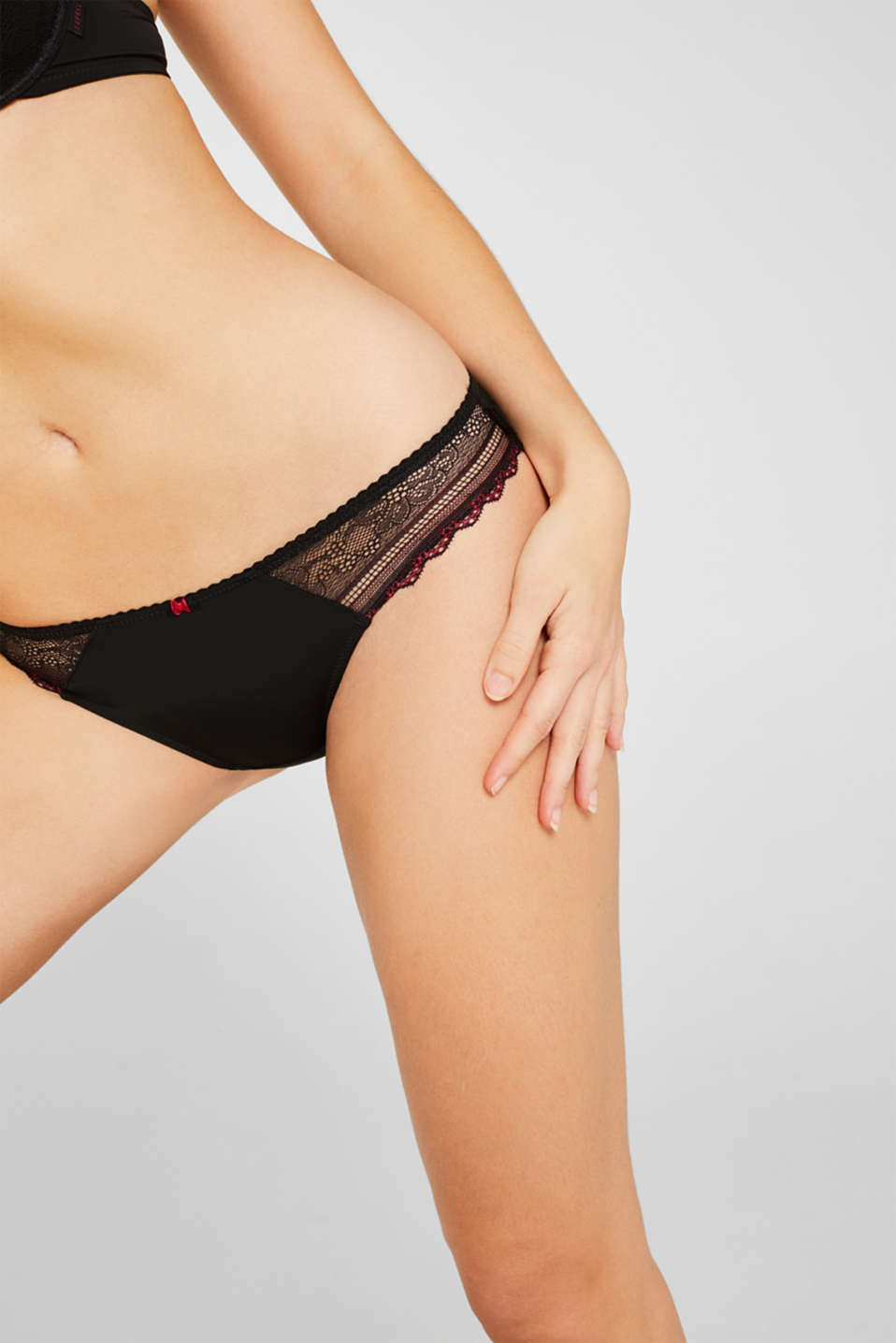 Hipster thong with two-tone lace, BLACK, detail image number 1