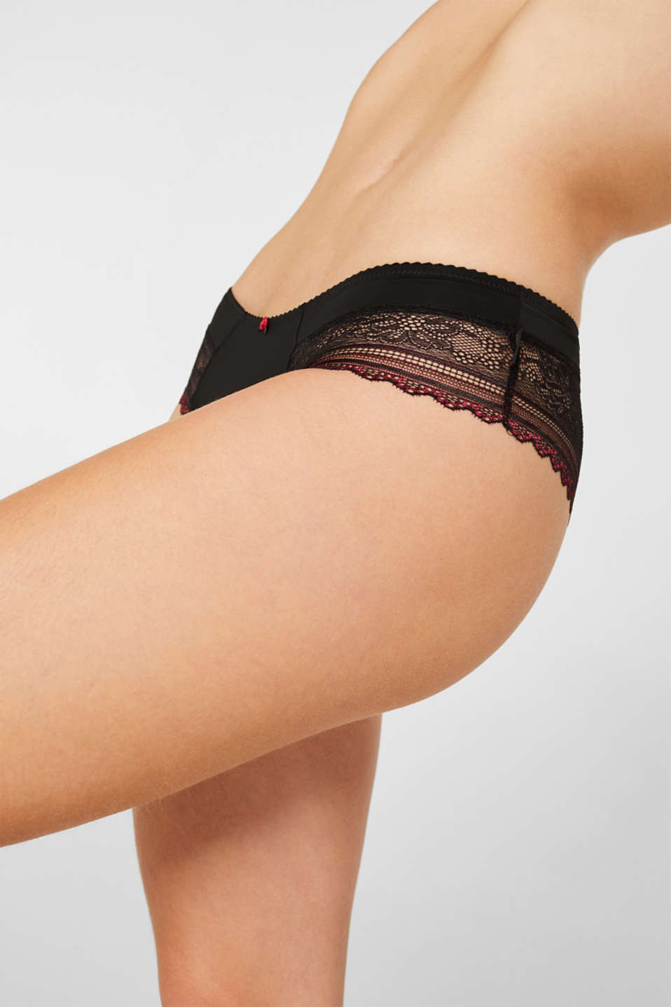 Hipster shorts made of bi-colour lace, BLACK, detail image number 1