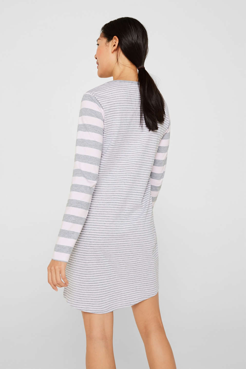 Jersey nightshirt with mixed stripes, PASTEL PINK, detail image number 1