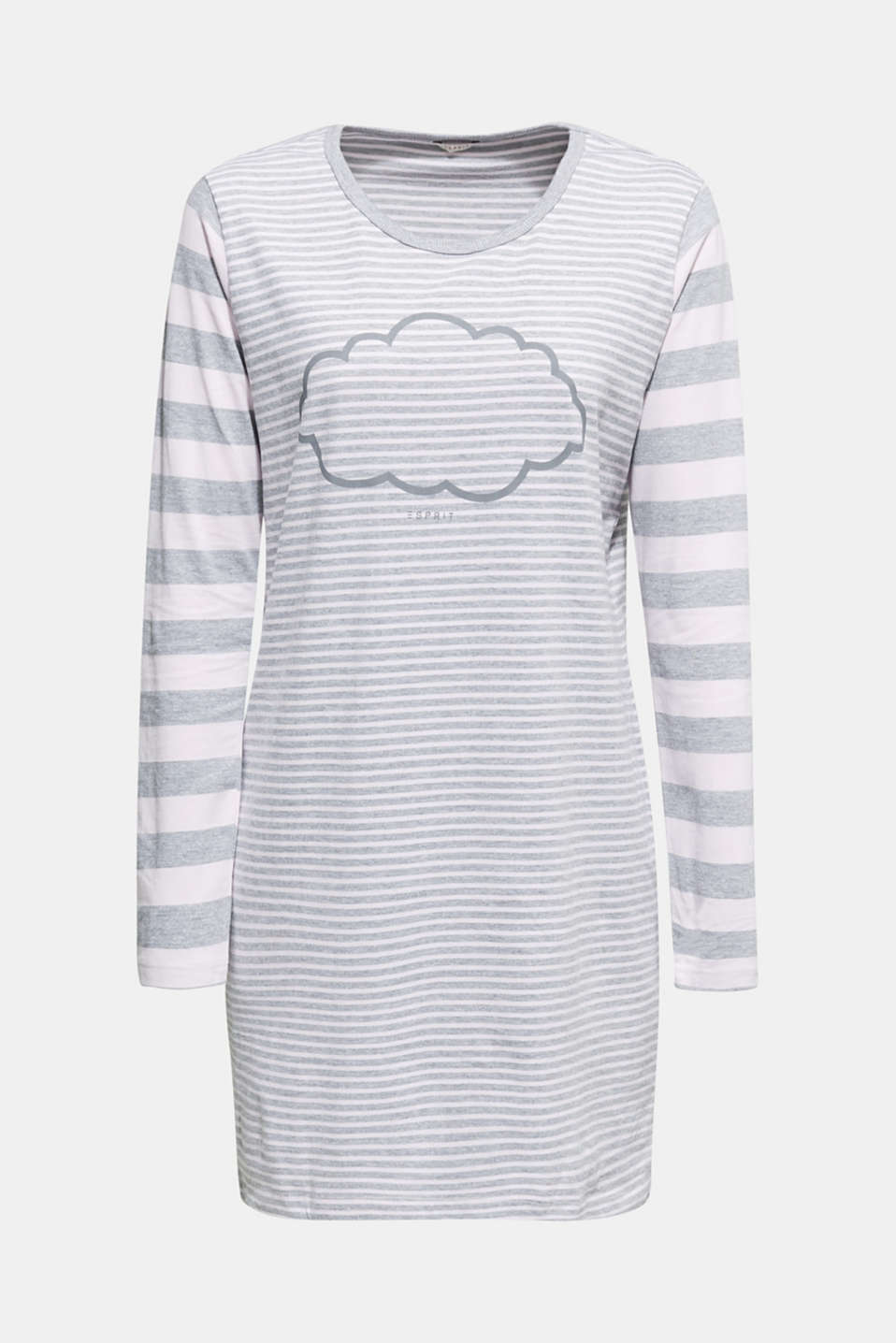 Jersey nightshirt with mixed stripes, PASTEL PINK, detail image number 4
