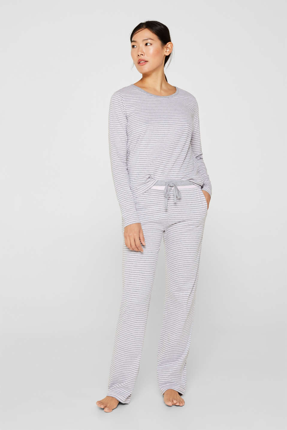 Esprit - Melange jersey trousers with stripes