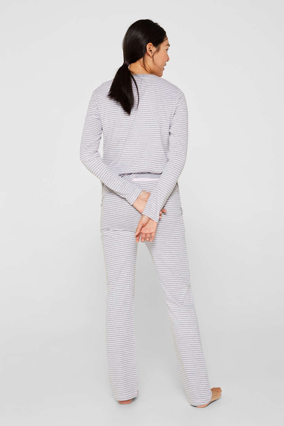 Melange jersey trousers with stripes, PASTEL PINK, detail image number 2