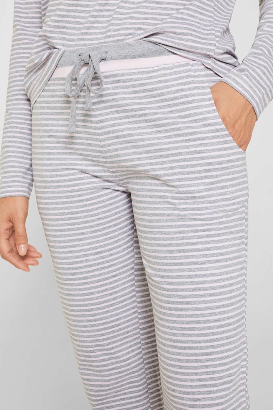 Melange jersey trousers with stripes, PASTEL PINK, detail image number 1