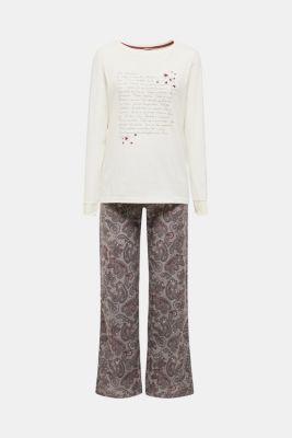 Jersey and flannel pyjamas, 100% cotton, MEDIUM GREY, detail