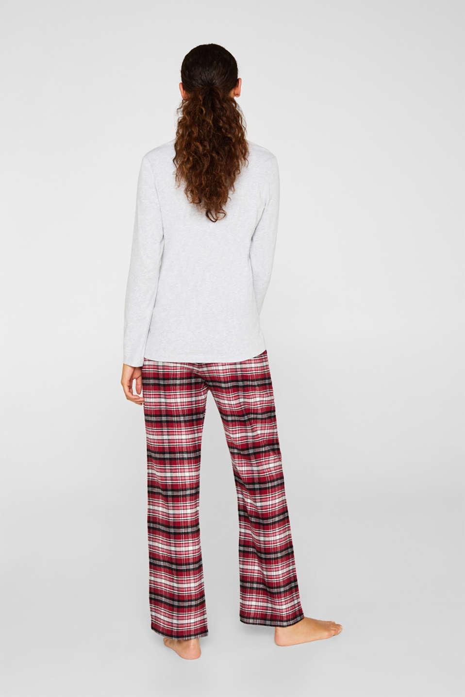 Jersey/flannel pyjamas, 100% cotton, DARK RED, detail image number 2