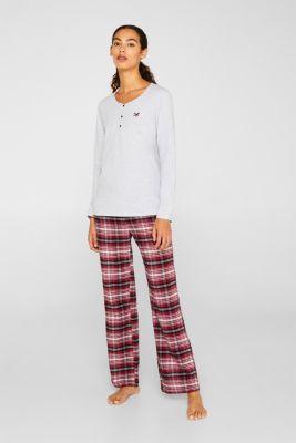Jersey/flannel pyjamas, 100% cotton, DARK RED, detail