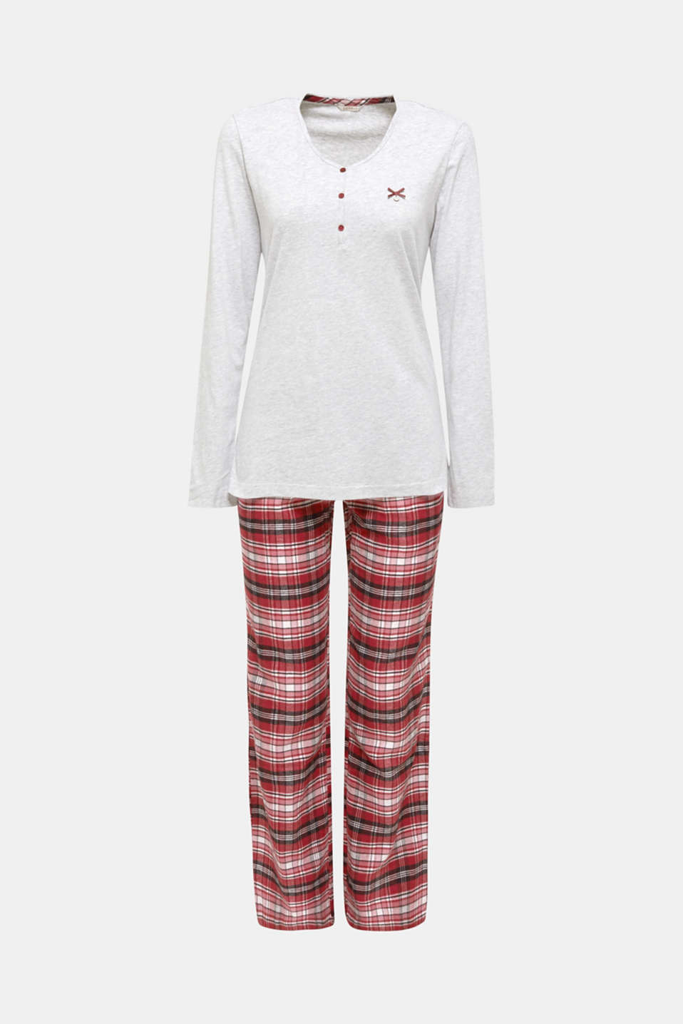 Jersey/flannel pyjamas, 100% cotton, DARK RED, detail image number 7