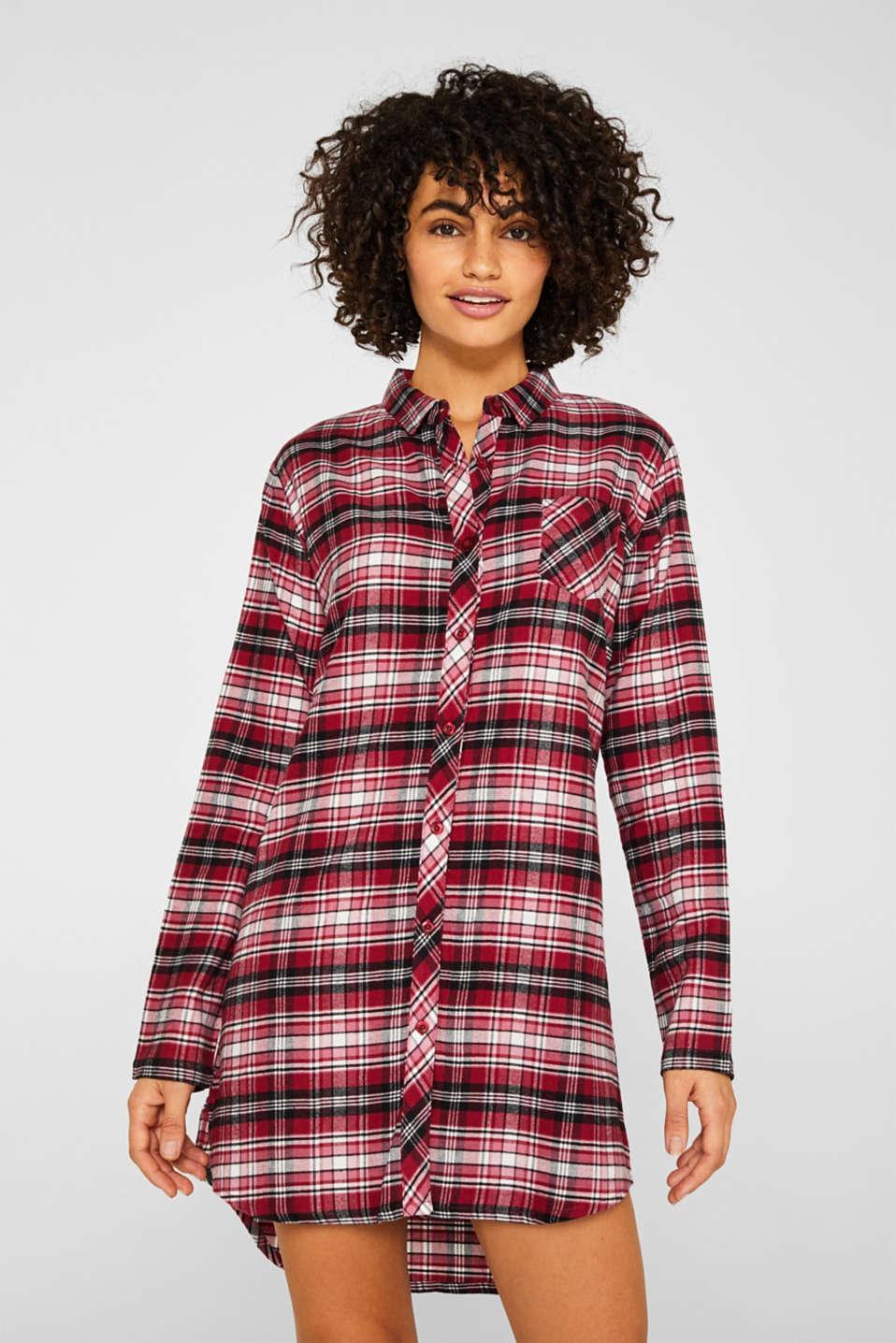 Check flannel nightshirt, 100% cotton, DARK RED, detail image number 1