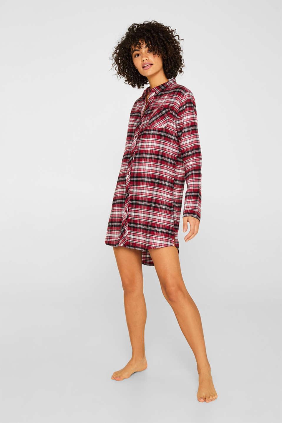Check flannel nightshirt, 100% cotton, DARK RED, detail image number 0