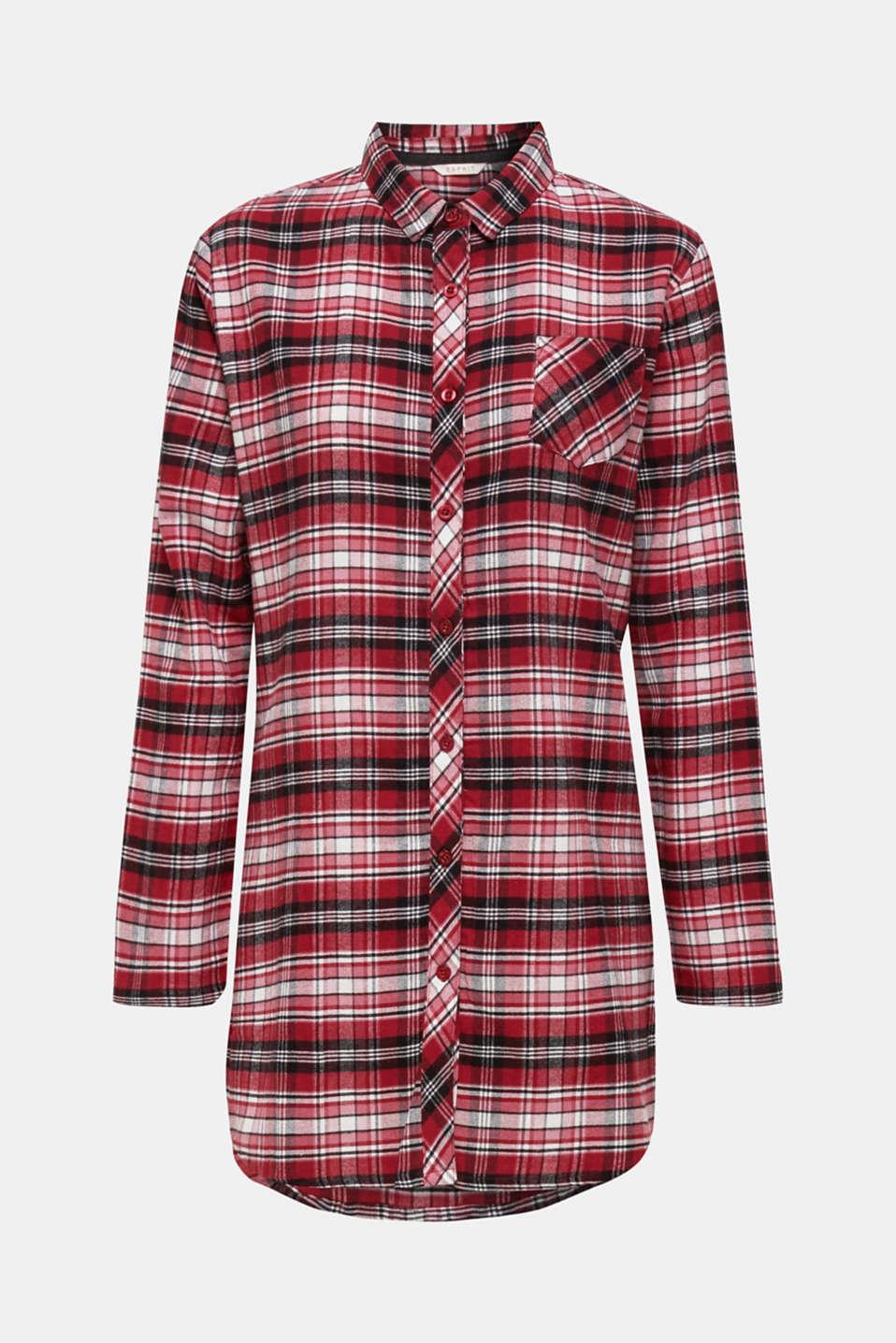 Check flannel nightshirt, 100% cotton, DARK RED, detail image number 5