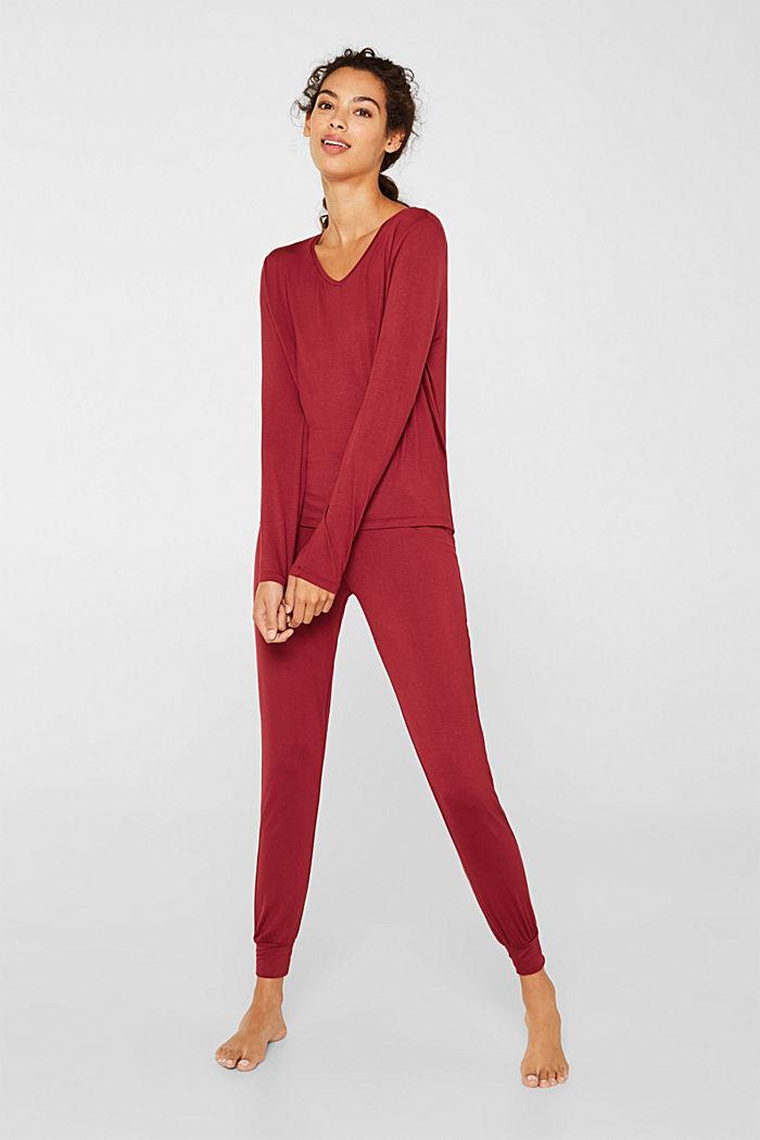 Jersey-Stretch-Pyjama mit Spitze, DARK RED, detail image number 1