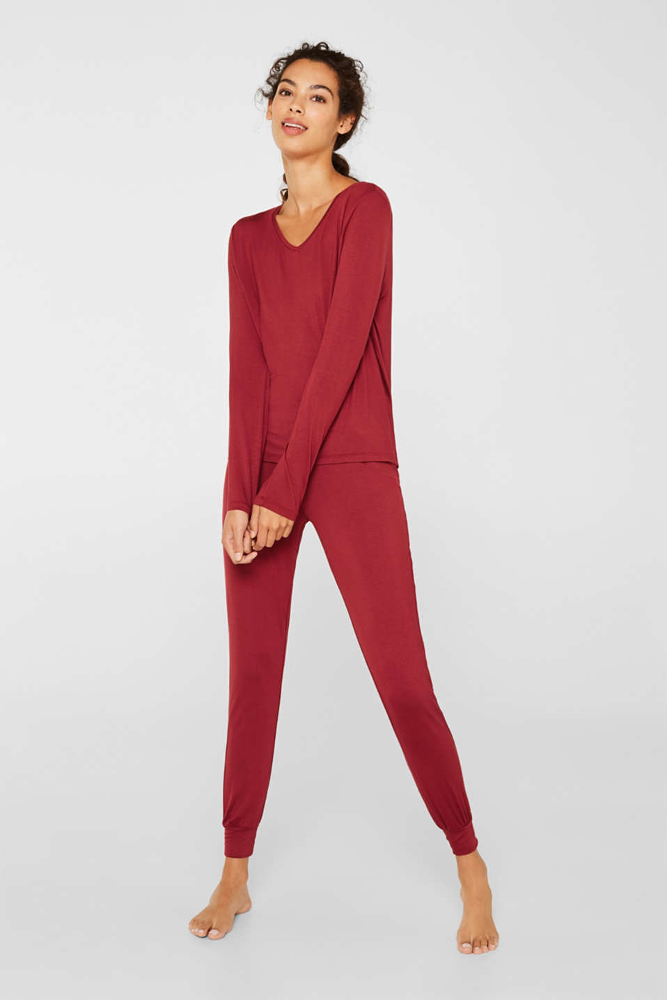 Stretch jersey pyjamas with lace, DARK RED, detail image number 1