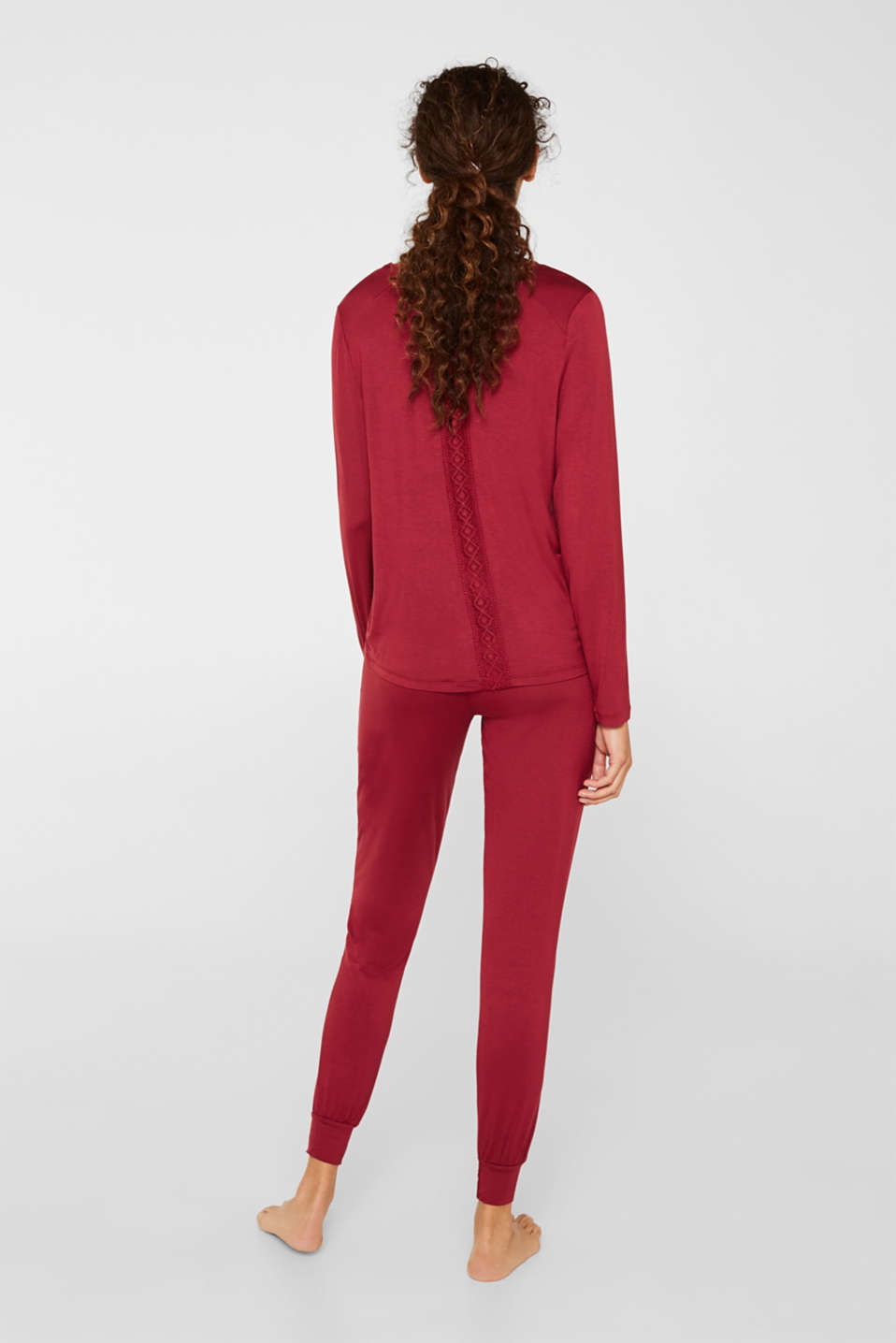 Stretch jersey pyjamas with lace, DARK RED, detail image number 2