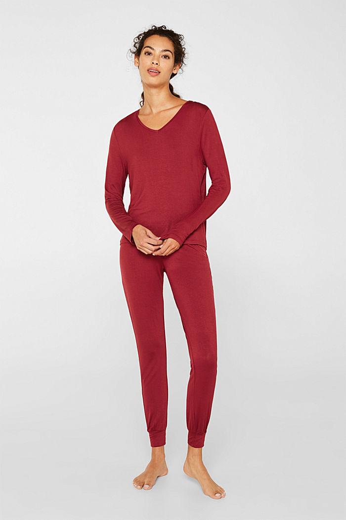 Jersey-Stretch-Pyjama mit Spitze, DARK RED, detail image number 0