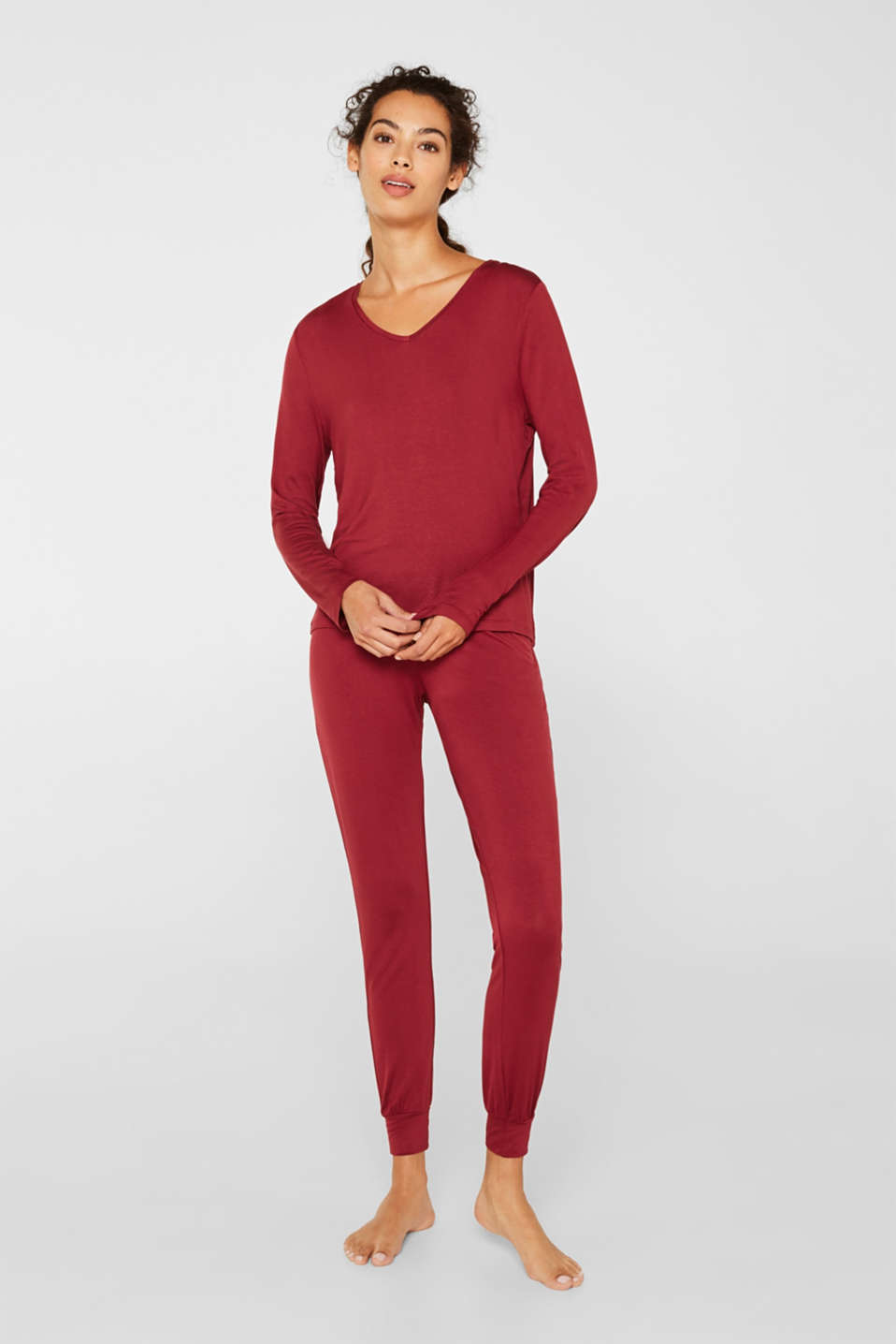 Esprit - Stretch jersey pyjamas with lace