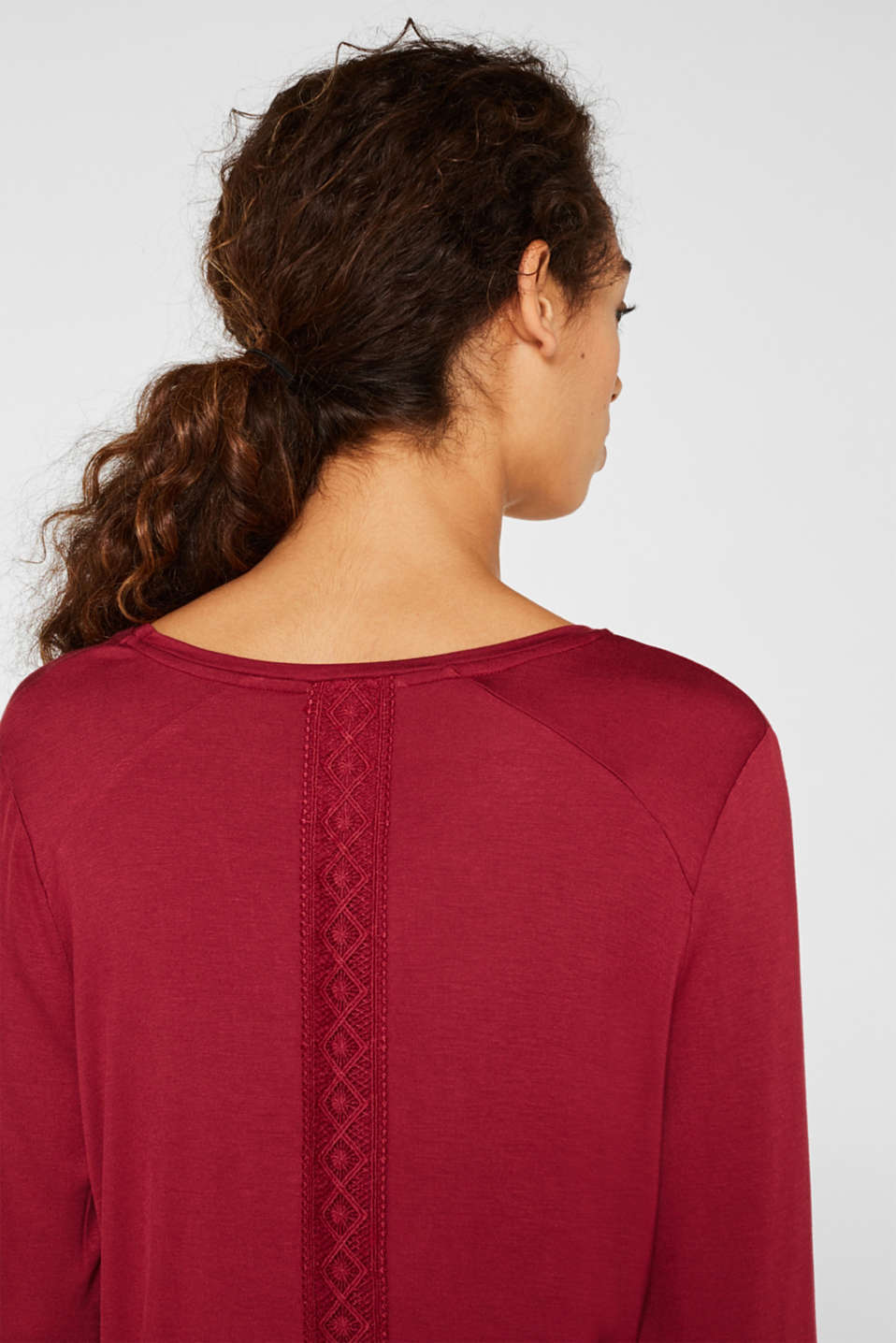 Stretch jersey pyjamas with lace, DARK RED, detail image number 3