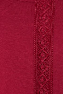 Stretch jersey pyjamas with lace, DARK RED, detail