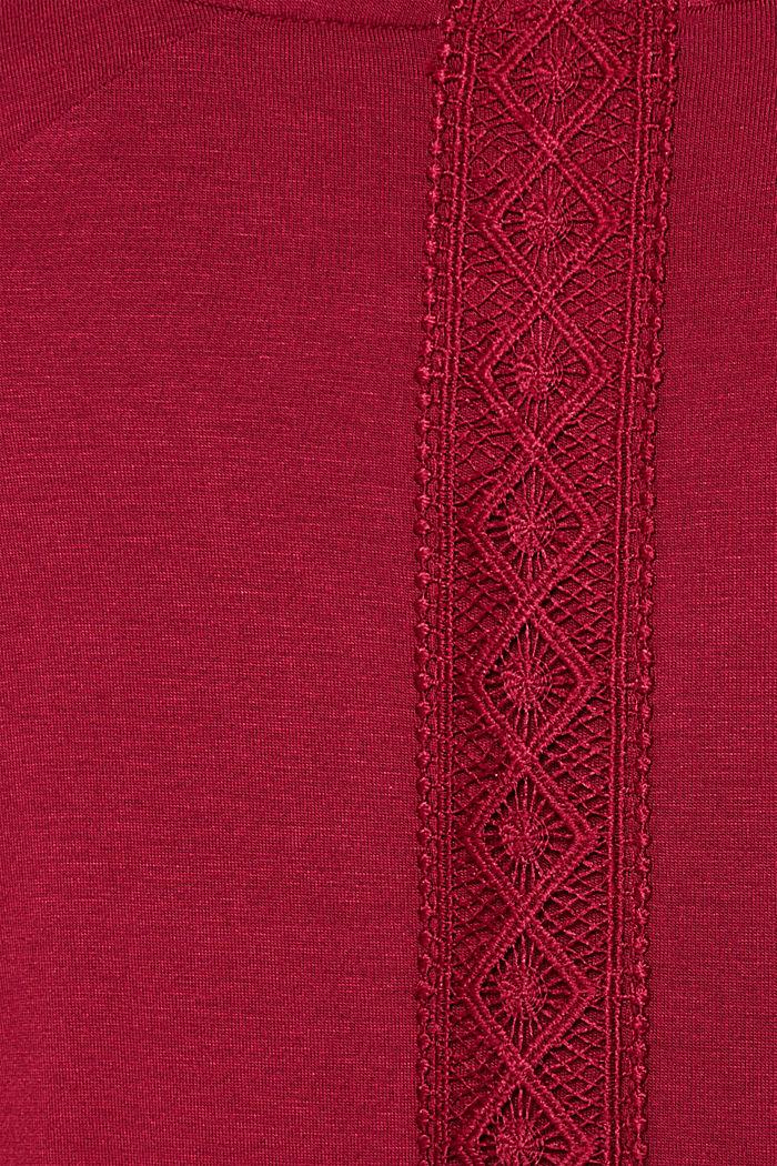 Jersey-Stretch-Pyjama mit Spitze, DARK RED, detail image number 4
