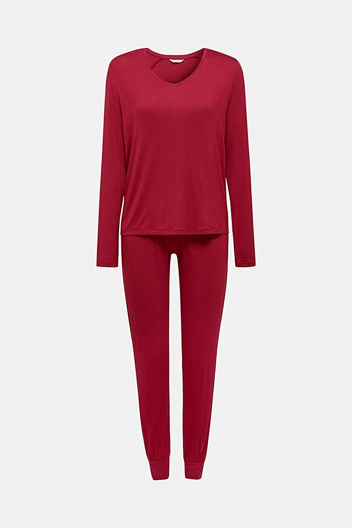 Jersey-Stretch-Pyjama mit Spitze, DARK RED, detail image number 5