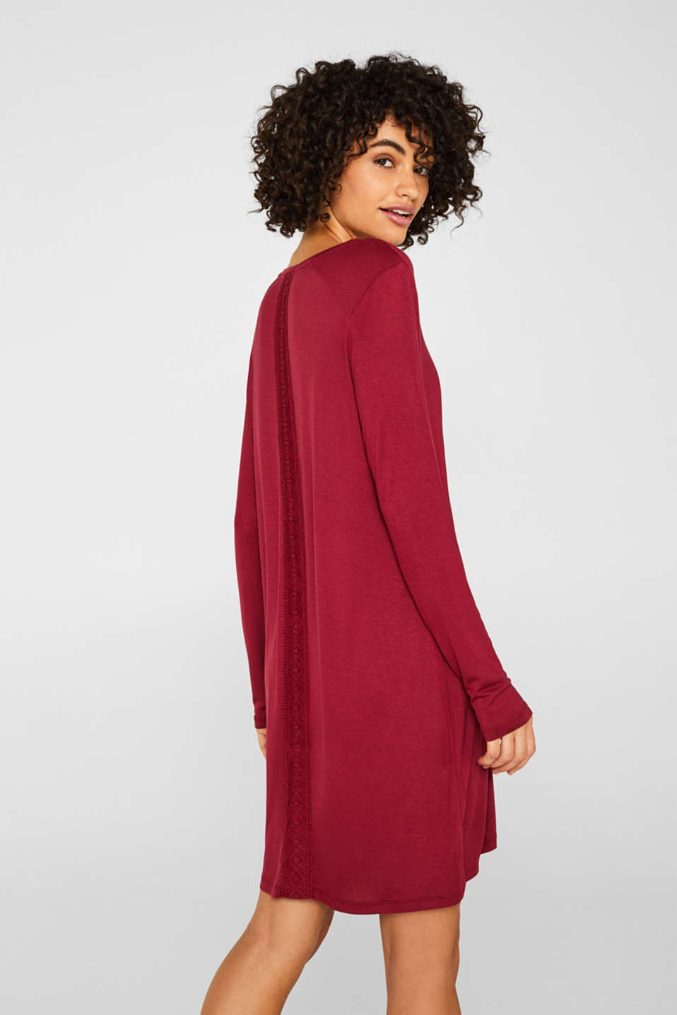 Jersey nightshirt with lace, DARK RED, detail image number 2